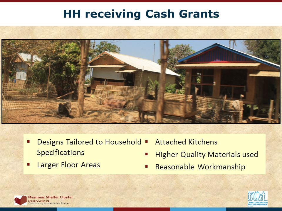 Myanmar Shelter Cluster ShelterCluster.org Coordinating Humanitarian Shelter HH receiving Cash Grants  Designs Tailored to Household Specifications  Larger Floor Areas  Attached Kitchens  Higher Quality Materials used  Reasonable Workmanship