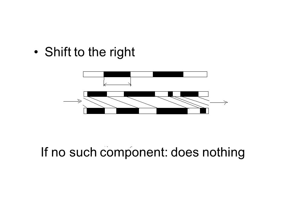 Shift to the right If no such component: does nothing