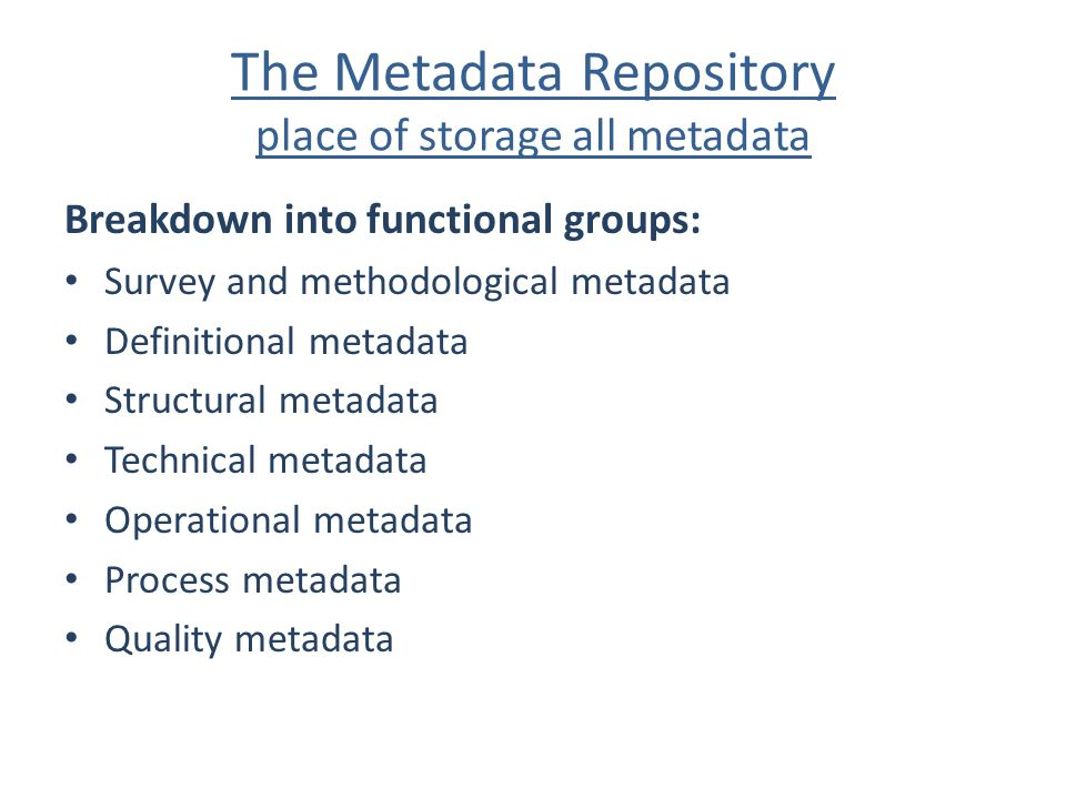 The Metadata Repository place of storage all metadata Breakdown into functional groups: Survey and methodological metadata Definitional metadata Struc