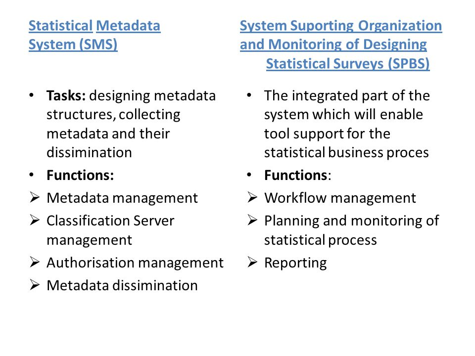Statistical Metadata System Suporting Organization System (SMS) and Monitoring of Designing Statistical Surveys (SPBS) Tasks: designing metadata structures, collecting metadata and their dissimination Functions:  Metadata management  Classification Server management  Authorisation management  Metadata dissimination The integrated part of the system which will enable tool support for the statistical business proces Functions:  Workflow management  Planning and monitoring of statistical process  Reporting