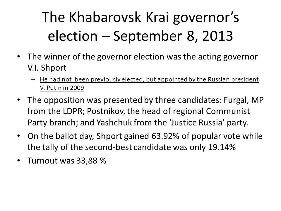 The Khabarovsk Krai governor's election – September 8, 2013 The winner of the governor election was the acting governor V.I.