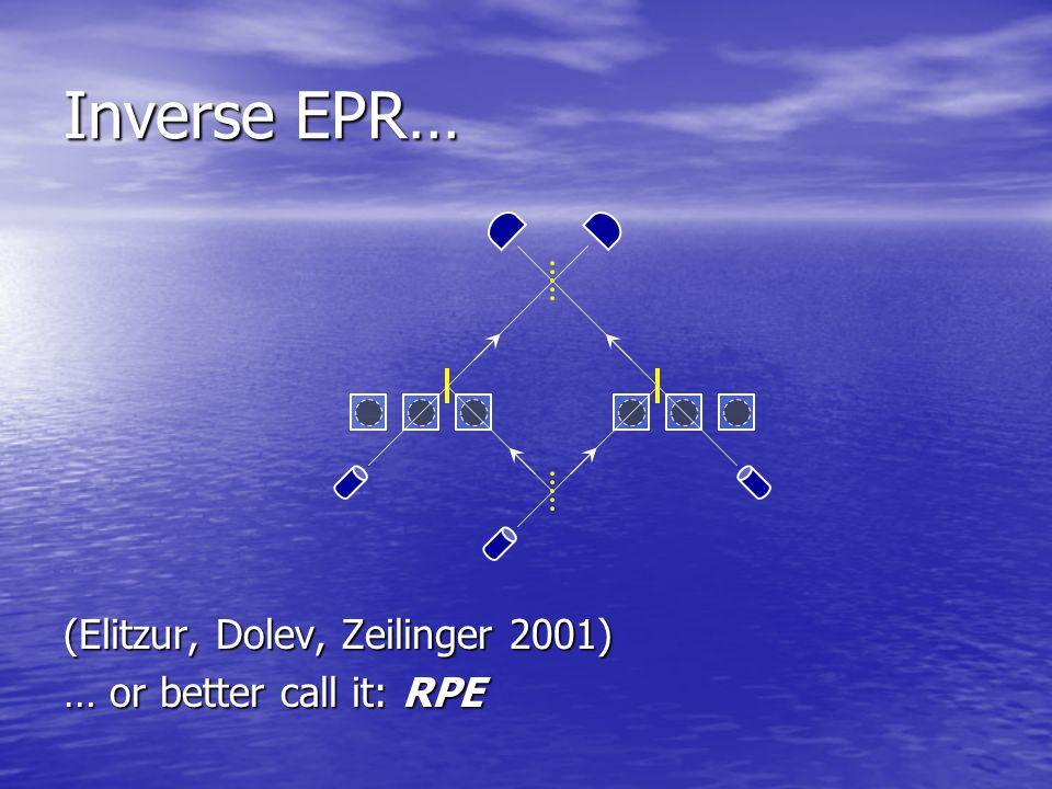 (Elitzur, Dolev, Zeilinger 2001) … or better call it: RPE Inverse EPR…