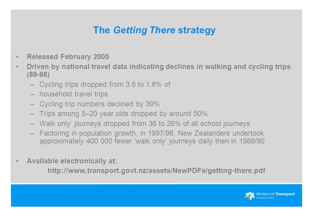 The Getting There strategy Released February 2005 Driven by national travel data indicating declines in walking and cycling trips (89-98) –Cycling trips dropped from 3.6 to 1.8% of –household travel trips –Cycling trip numbers declined by 39% –Trips among 5–20 year olds dropped by around 50% –Walk only' journeys dropped from 36 to 26% of all school journeys –Factoring in population growth, in 1997/98, New Zealanders undertook approximately 400 000 fewer 'walk only' journeys daily then in 1989/90 Available electronically at: http://www.transport.govt.nz/assets/NewPDFs/getting-there.pdf