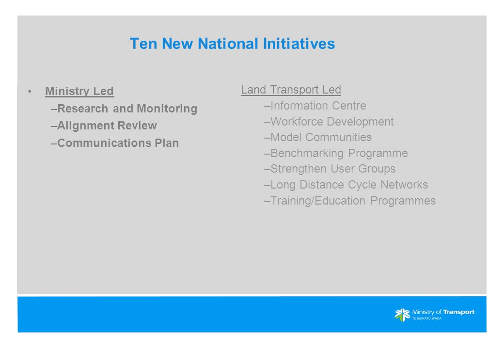 Ten New National Initiatives Ministry Led –Research and Monitoring –Alignment Review –Communications Plan Land Transport Led –Information Centre –Workforce Development –Model Communities –Benchmarking Programme –Strengthen User Groups –Long Distance Cycle Networks –Training/Education Programmes