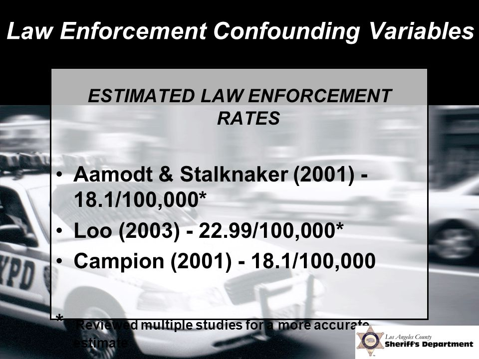 Law Enforcement Confounding Variables ESTIMATED LAW ENFORCEMENT RATES Aamodt & Stalknaker (2001) - 18.1/100,000* Loo (2003) - 22.99/100,000* Campion (