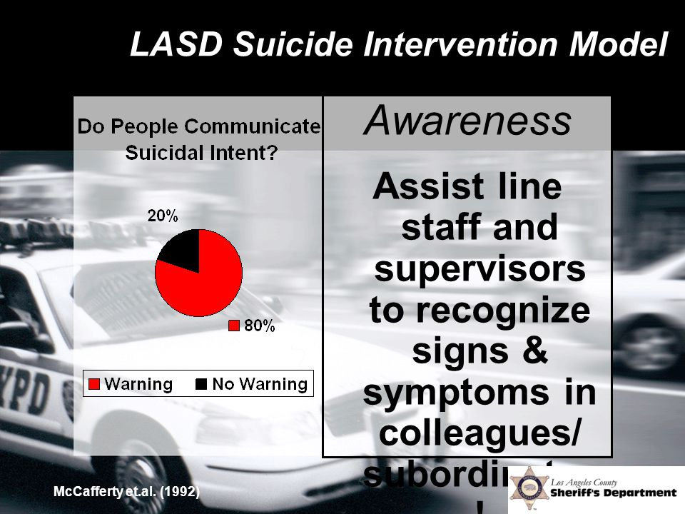 LASD Suicide Intervention Model Awareness Assist line staff and supervisors to recognize signs & symptoms in colleagues/ subordinates ! McCafferty et.