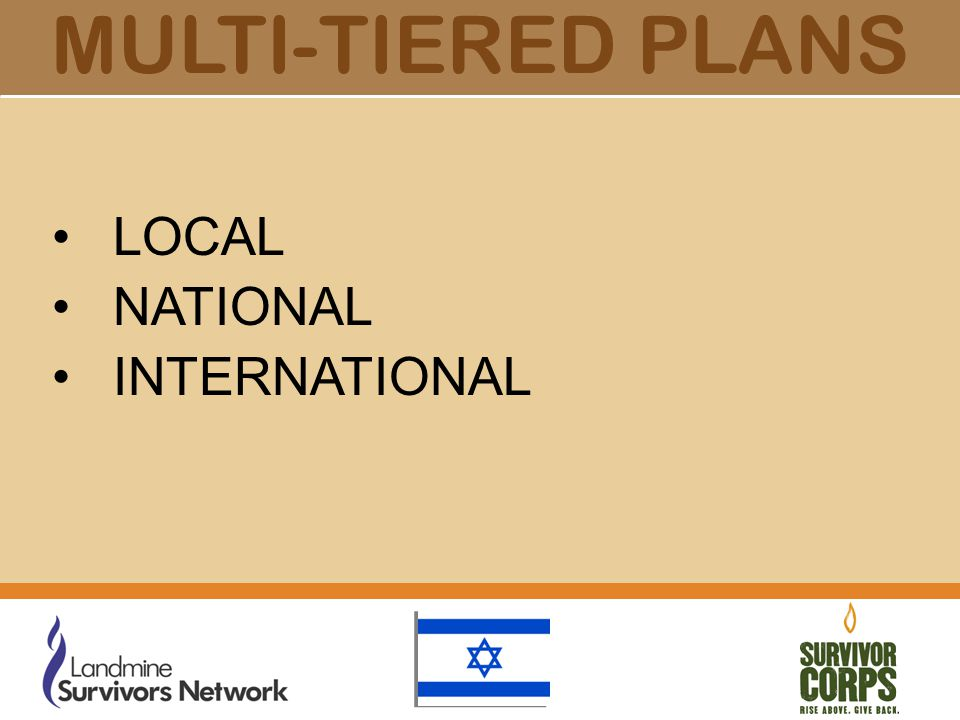 MULTI-TIERED PLANS LOCAL NATIONAL INTERNATIONAL