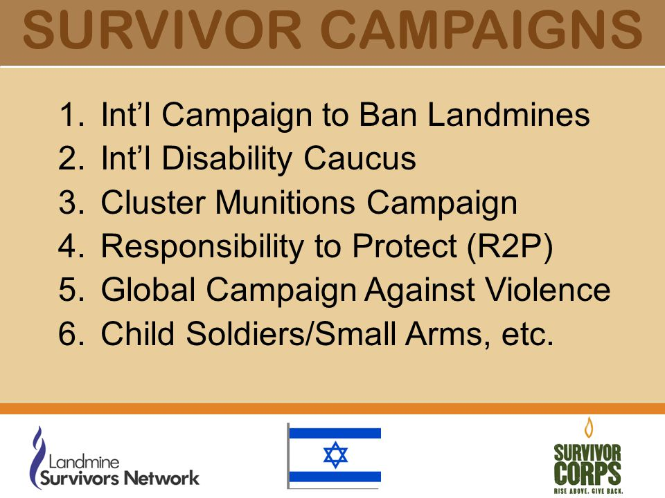 SURVIVOR CAMPAIGNS 1.Int'l Campaign to Ban Landmines 2.Int'l Disability Caucus 3.Cluster Munitions Campaign 4.Responsibility to Protect (R2P) 5.Global Campaign Against Violence 6.Child Soldiers/Small Arms, etc.