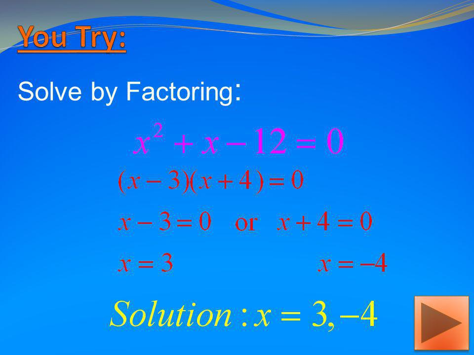 Solve by Factoring :