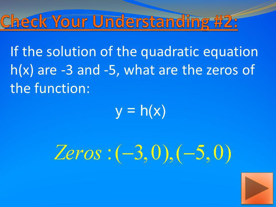 If the roots of the quadratic function g(x) are -2 and 2, what are the solutions of the equation: g(x) = 0