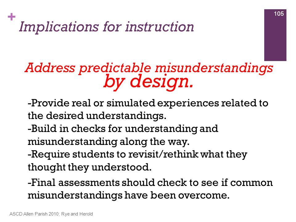 + Implications for instruction ASCD Allen Parish 2010; Rye and Herold 105 Address predictable misunderstandings by design.