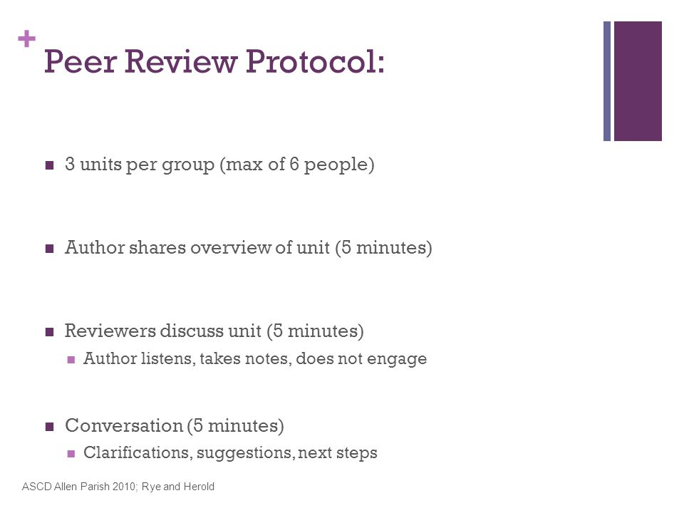 + 3 units per group (max of 6 people) Author shares overview of unit (5 minutes) Reviewers discuss unit (5 minutes) Author listens, takes notes, does not engage Conversation (5 minutes) Clarifications, suggestions, next steps ASCD Allen Parish 2010; Rye and Herold Peer Review Protocol: