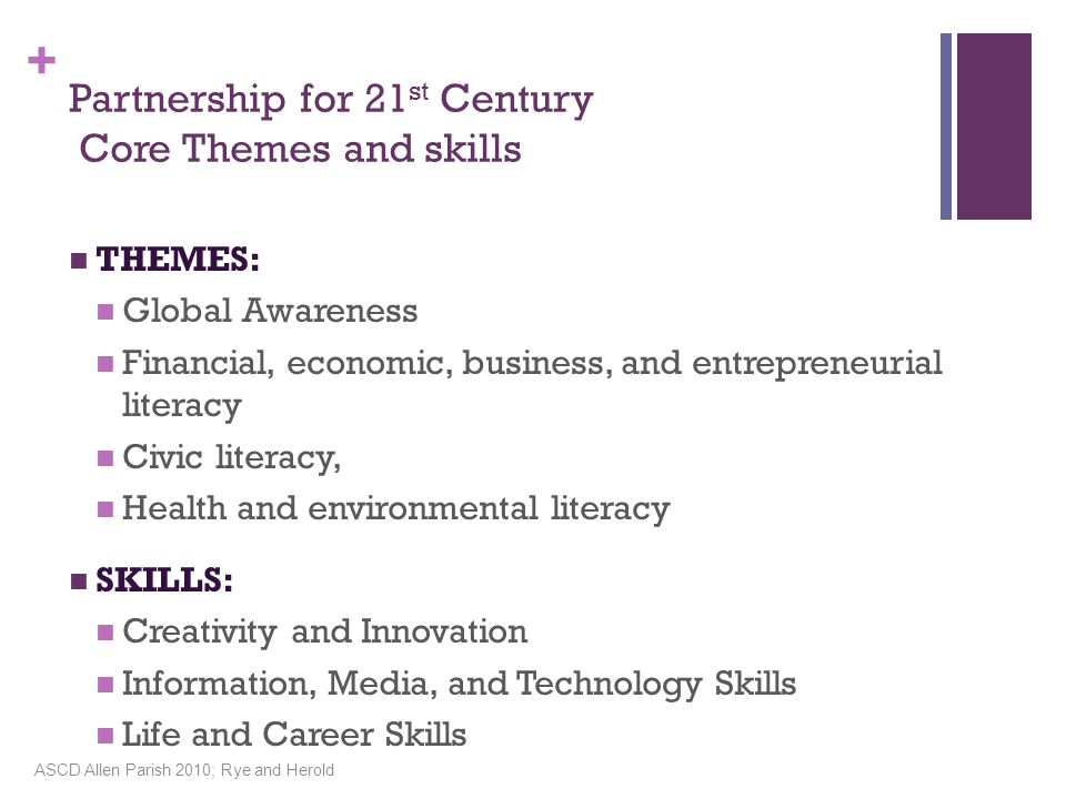 + Partnership for 21 st Century Core Themes and skills THEMES: Global Awareness Financial, economic, business, and entrepreneurial literacy Civic literacy, Health and environmental literacy SKILLS: Creativity and Innovation Information, Media, and Technology Skills Life and Career Skills ASCD Allen Parish 2010; Rye and Herold