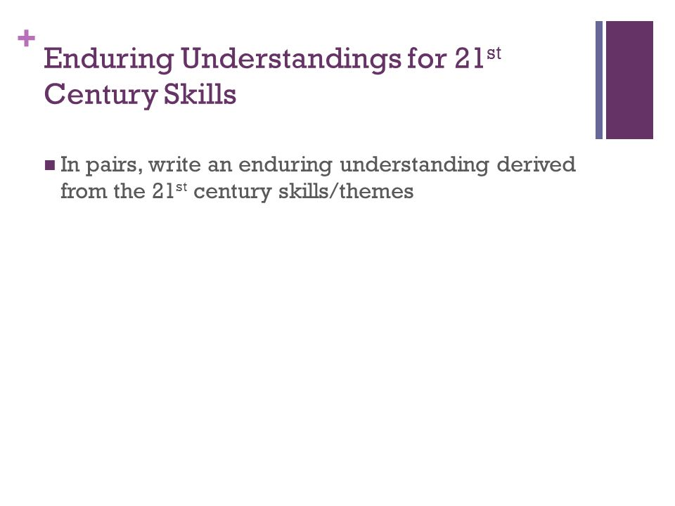 + Enduring Understandings for 21 st Century Skills In pairs, write an enduring understanding derived from the 21 st century skills/themes