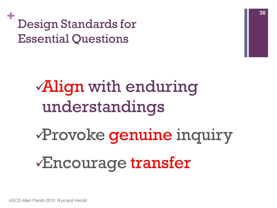 + Design Standards for Essential Questions Align with enduring understandings Provoke genuine inquiry Encourage transfer ASCD Allen Parish 2010; Rye and Herold 36