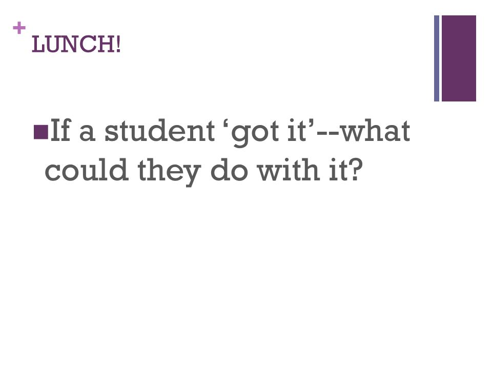 + LUNCH! If a student 'got it'--what could they do with it?