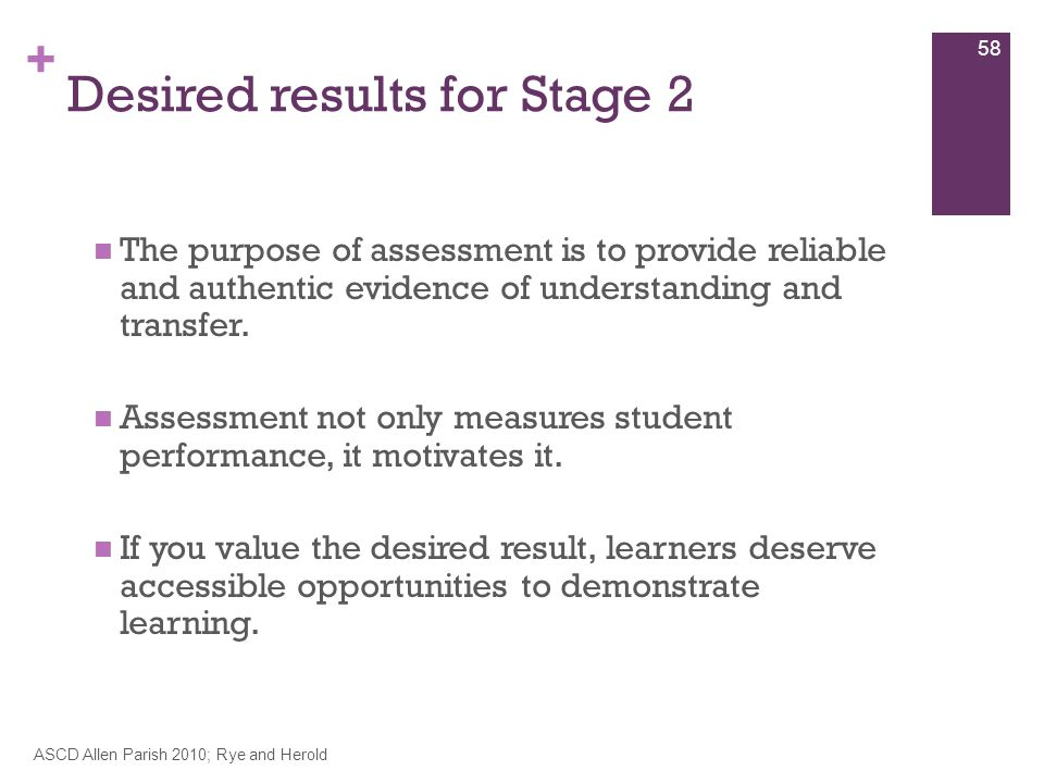 + Desired results for Stage 2 The purpose of assessment is to provide reliable and authentic evidence of understanding and transfer.