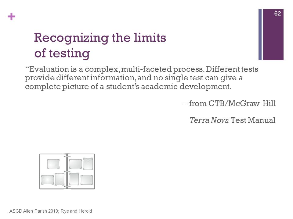 + Recognizing the limits of testing Evaluation is a complex, multi-faceted process.