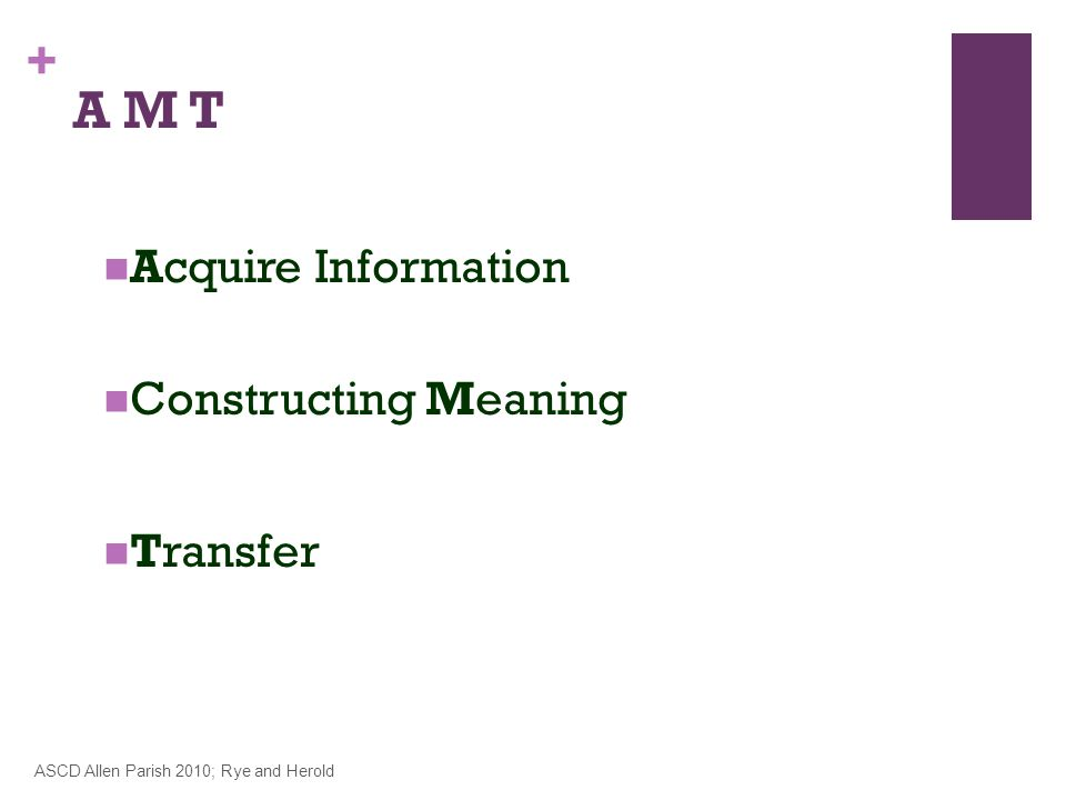+ Acquire Information Constructing Meaning Transfer ASCD Allen Parish 2010; Rye and Herold A M T