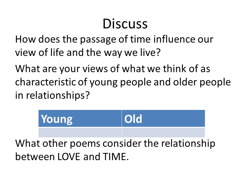 Discuss How does the passage of time influence our view of life and the way we live? What are your views of what we think of as characteristic of youn