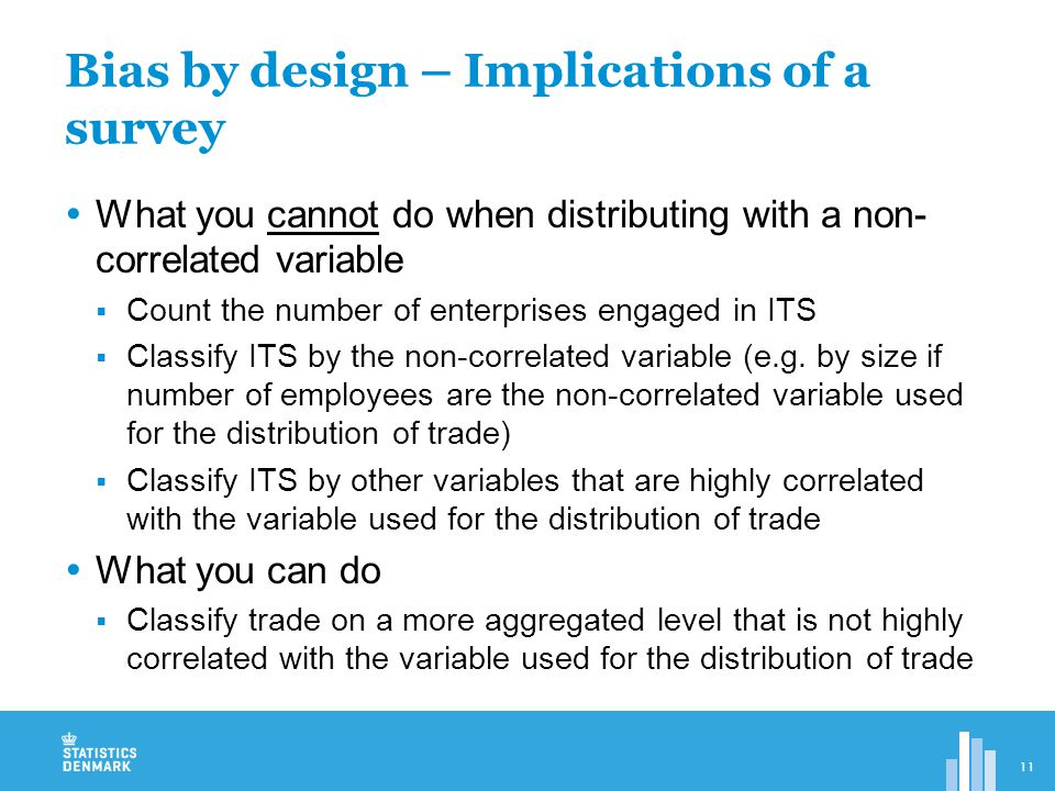  What you cannot do when distributing with a non- correlated variable  Count the number of enterprises engaged in ITS  Classify ITS by the non-correlated variable (e.g.