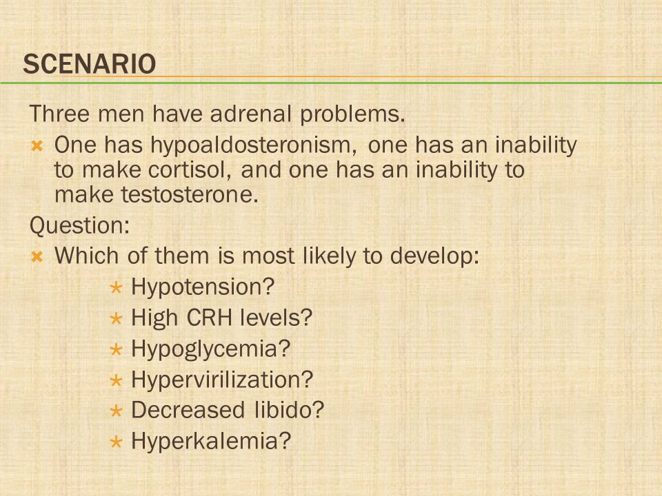 SCENARIO Three men have adrenal problems.  One has hypoaldosteronism, one has an inability to make cortisol, and one has an inability to make testost