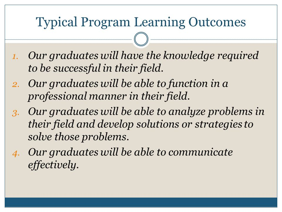 1.Create Program Learning Outcomes 1. Develop a list of learning outcomes for your degree program.