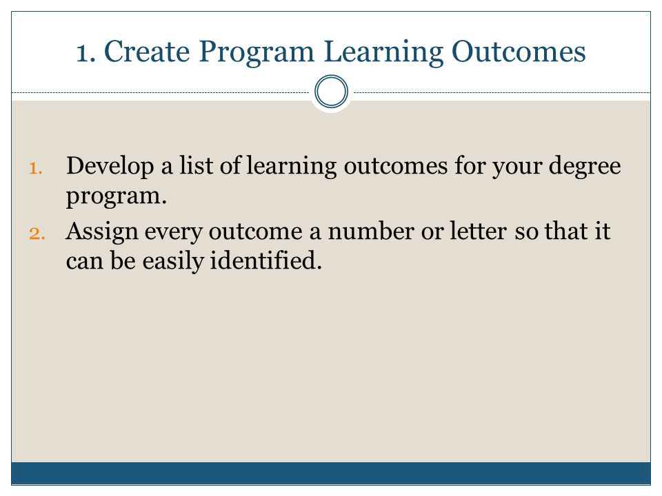 2.Find Each Outcome in Your Curriculum 1. List all required courses 2.