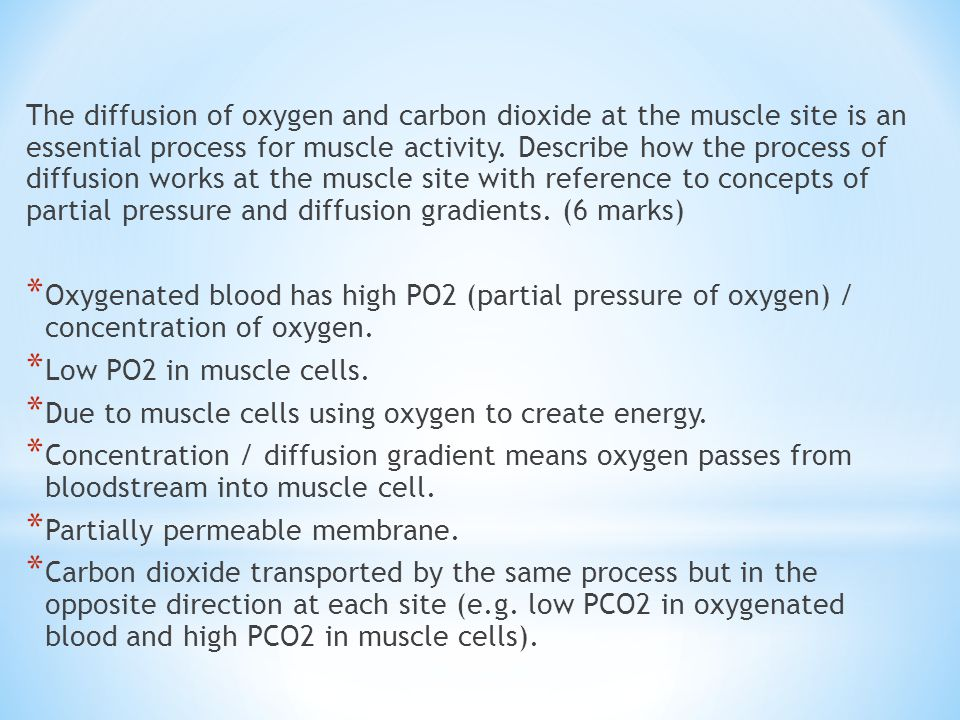 The diffusion of oxygen and carbon dioxide at the muscle site is an essential process for muscle activity. Describe how the process of diffusion works