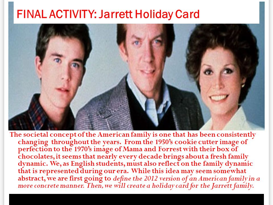 FINAL ACTIVITY: Jarrett Holiday Card The societal concept of the American family is one that has been consistently changing throughout the years. From