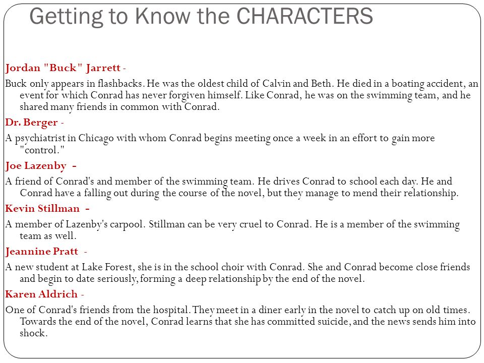 Getting to Know the CHARACTERS Jordan
