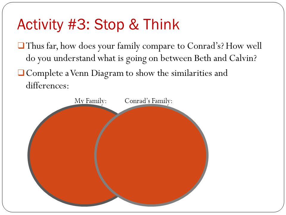 Activity #3: Stop & Think  Thus far, how does your family compare to Conrad's.
