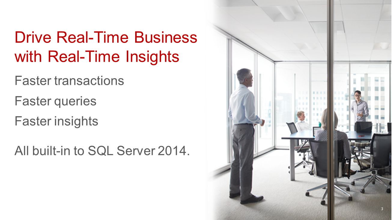 Drive Real-Time Business with Real-Time Insights Faster transactions Faster queries Faster insights All built-in to SQL Server 2014. 3