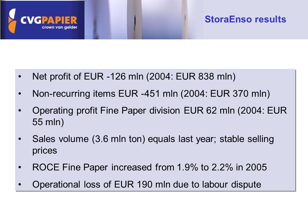 Net profit of EUR -126 mln (2004: EUR 838 mln) Non-recurring items EUR -451 mln (2004: EUR 370 mln) Operating profit Fine Paper division EUR 62 mln (2004: EUR 55 mln) Sales volume (3.6 mln ton) equals last year; stable selling prices ROCE Fine Paper increased from 1.9% to 2.2% in 2005 Operational loss of EUR 190 mln due to labour dispute Net profit of EUR -126 mln (2004: EUR 838 mln) Non-recurring items EUR -451 mln (2004: EUR 370 mln) Operating profit Fine Paper division EUR 62 mln (2004: EUR 55 mln) Sales volume (3.6 mln ton) equals last year; stable selling prices ROCE Fine Paper increased from 1.9% to 2.2% in 2005 Operational loss of EUR 190 mln due to labour dispute StoraEnso results