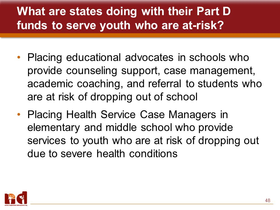 48 What are states doing with their Part D funds to serve youth who are at-risk.