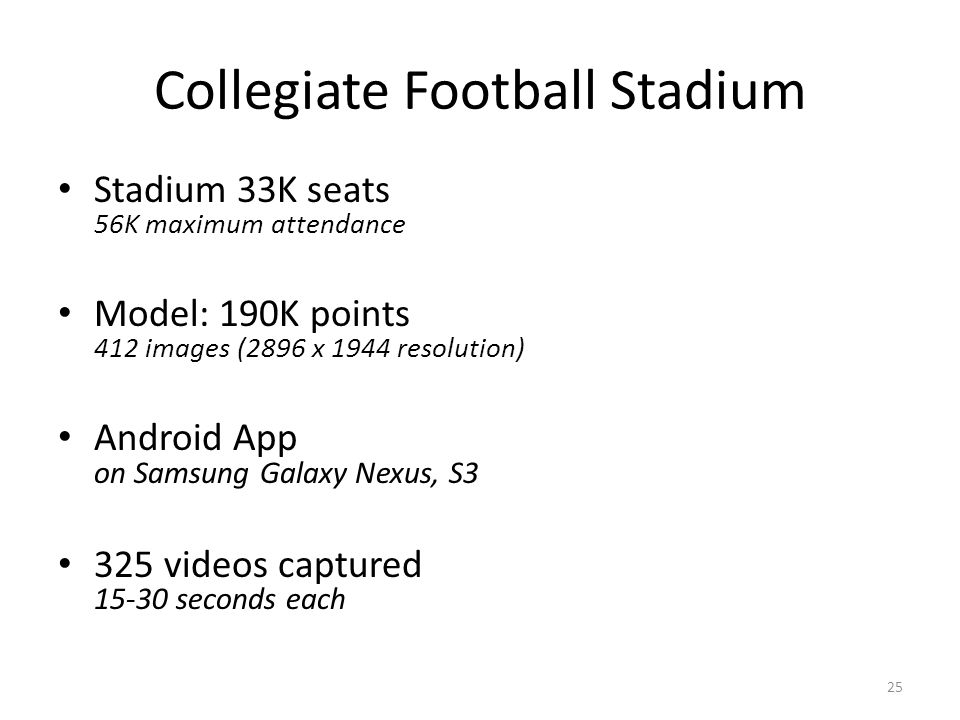 Collegiate Football Stadium Stadium 33K seats 56K maximum attendance Model: 190K points 412 images (2896 x 1944 resolution) Android App on Samsung Galaxy Nexus, S3 325 videos captured 15-30 seconds each 25