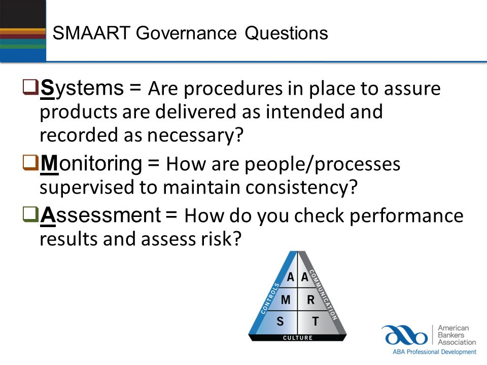 SMAART Governance Questions  Systems = Are procedures in place to assure products are delivered as intended and recorded as necessary?  Monitoring =
