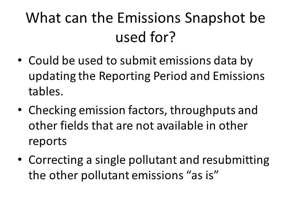 What can the Emissions Snapshot be used for.