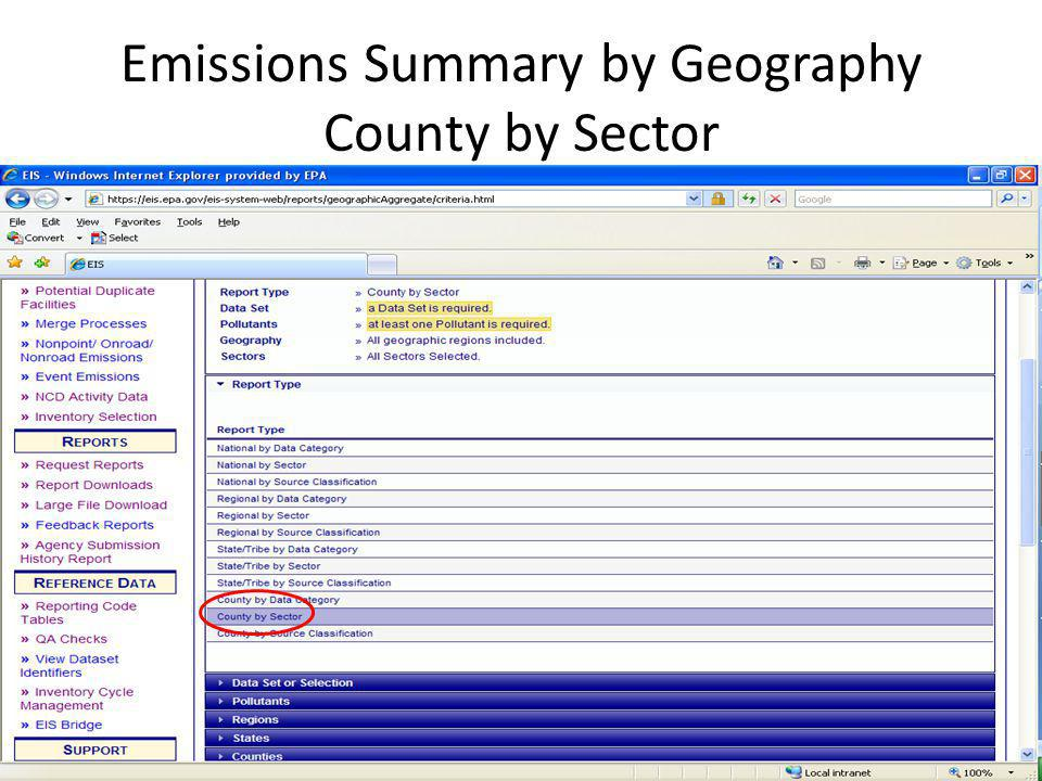 Emissions Summary by Geography County by Sector