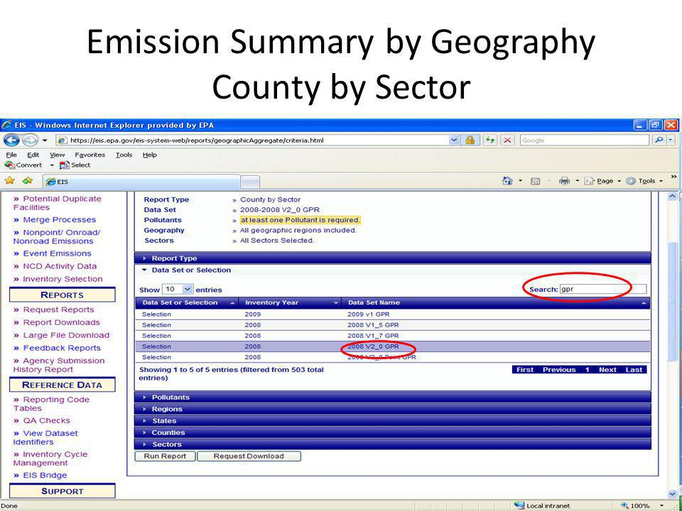 Emission Summary by Geography County by Sector