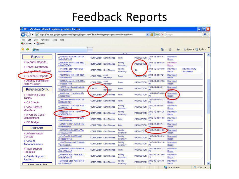 Feedback Reports