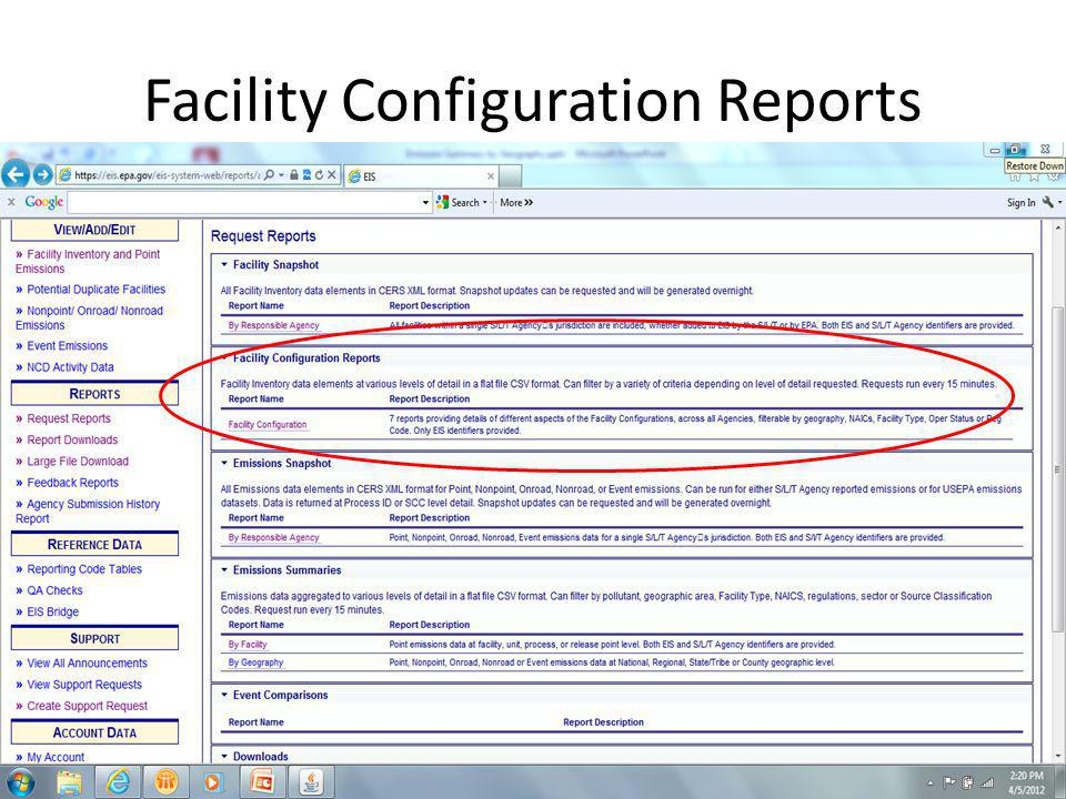 Facility Configuration Reports