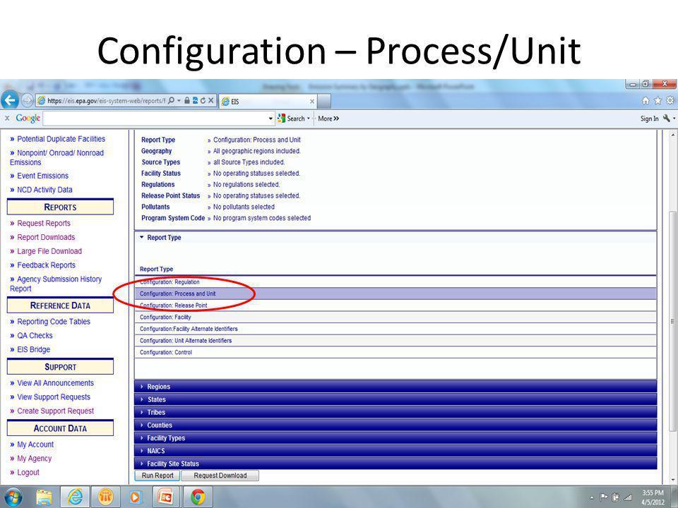 Configuration – Process/Unit