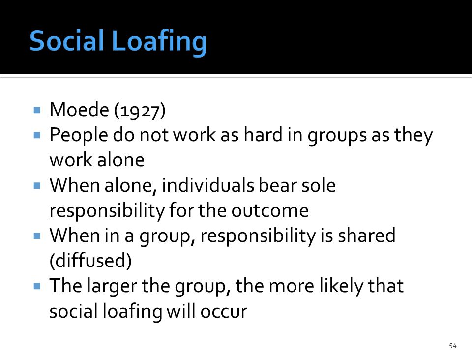  Moede (1927)  People do not work as hard in groups as they work alone  When alone, individuals bear sole responsibility for the outcome  When in a group, responsibility is shared (diffused)  The larger the group, the more likely that social loafing will occur 54