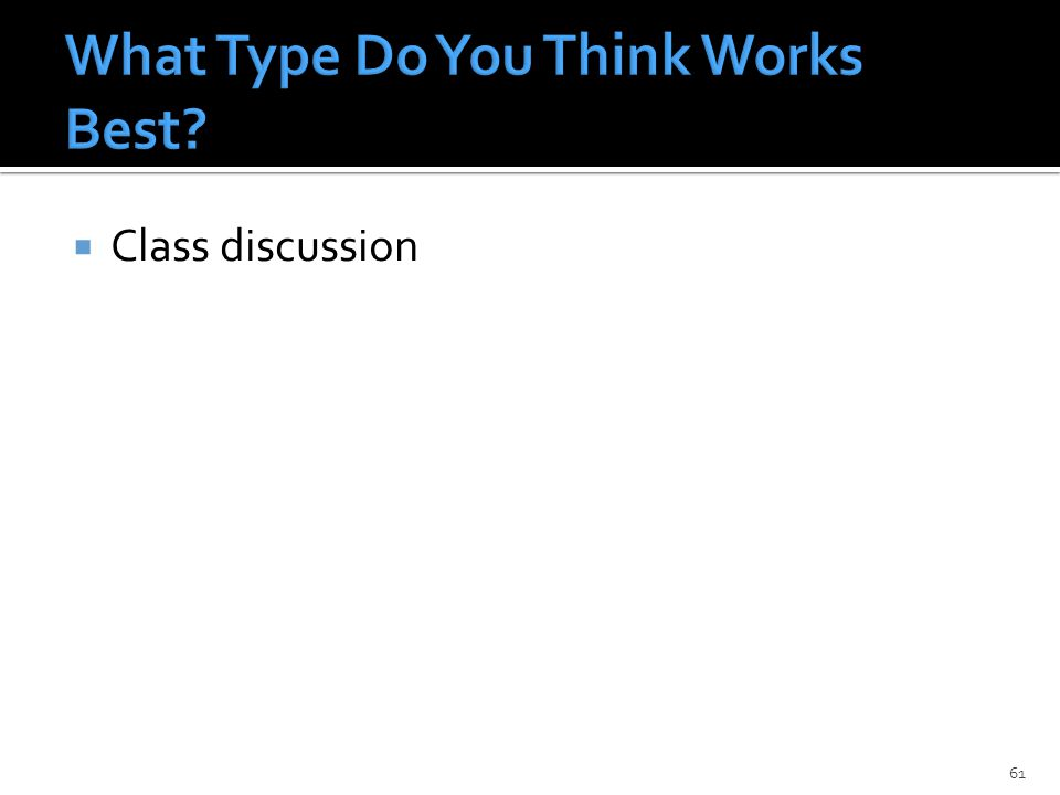  Class discussion 61