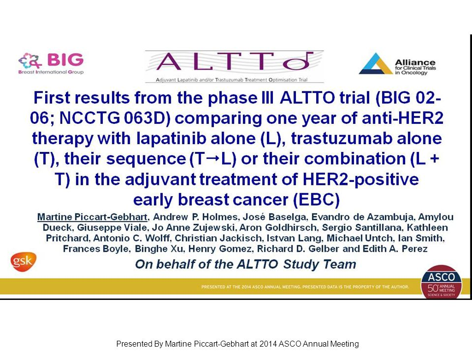 First results from the phase III ALTTO trial (BIG 02-06; NCCTG 063D) comparing one year of anti-HER2 therapy with lapatinib alone (L), trastuzumab alo