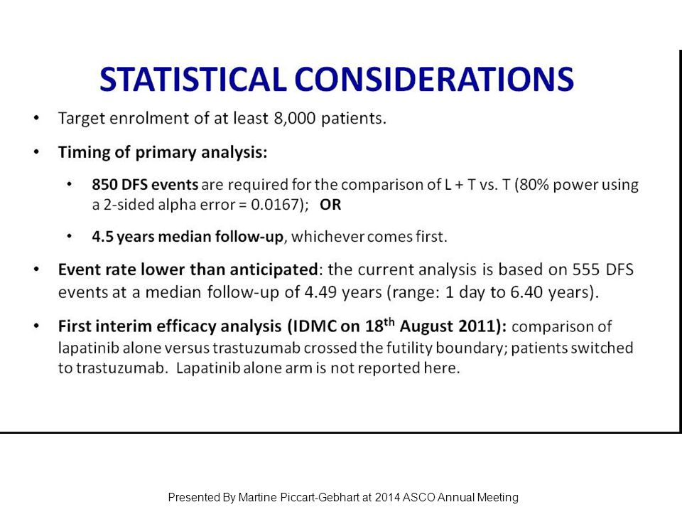 STAtiStical considerations Presented By Martine Piccart-Gebhart at 2014 ASCO Annual Meeting