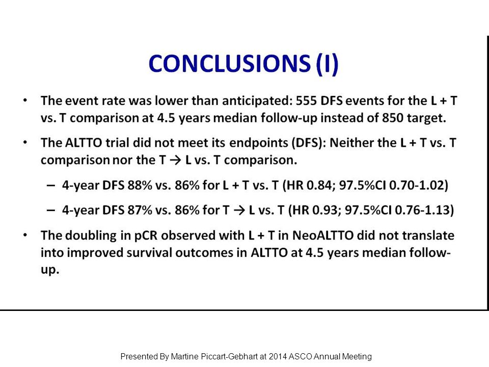 CONCLUSIONS (I) Presented By Martine Piccart-Gebhart at 2014 ASCO Annual Meeting