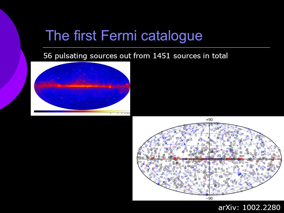 The first Fermi catalogue 56 pulsating sources out from 1451 sources in total arXiv: 1002.2280