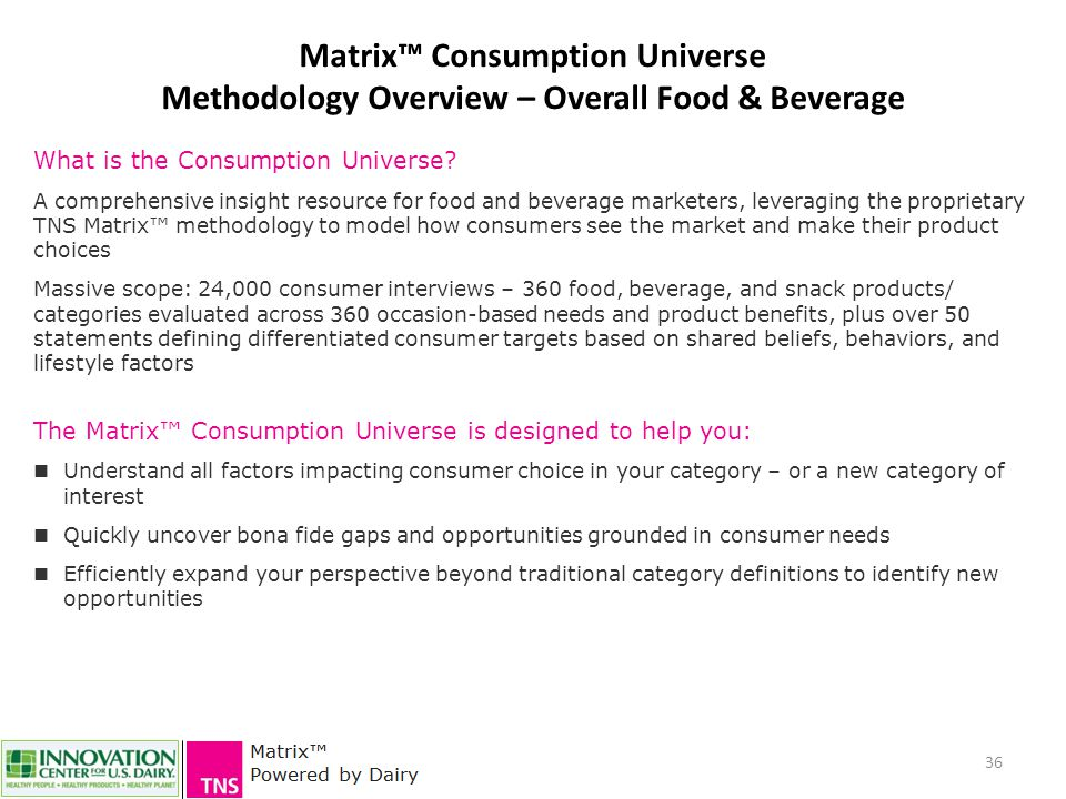36 Matrix™ Consumption Universe Methodology Overview – Overall Food & Beverage What is the Consumption Universe? A comprehensive insight resource for